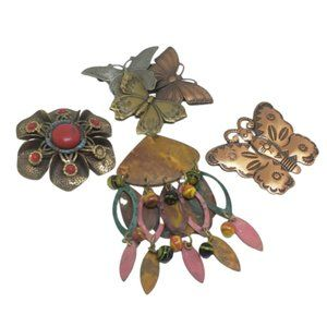 Vintage Bundle Of Copper & Mixed Metal Brooches